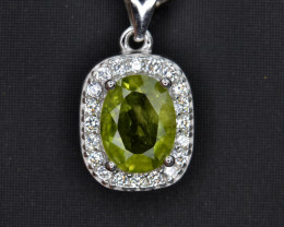Natural Green Peridot 15.06 Cts CZ and  Silver Pendant