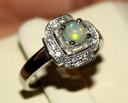 Natural Ethiopian Welo Opal 925 Silver Ring 7