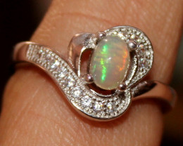 Natural Ethiopian Welo Opal 925 Silver Ring 62