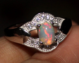 Natural Ethiopian Welo Opal 925 Silver Ring 18