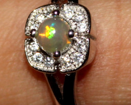 Natural Ethiopian Welo Opal 925 Silver Ring 75