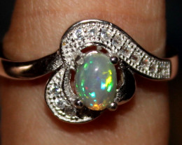 Natural Ethiopian Welo Opal 925 Silver Ring 69