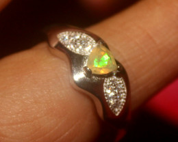 Natural Ethiopian Welo Faceted Opal 925 Silver Ring 60