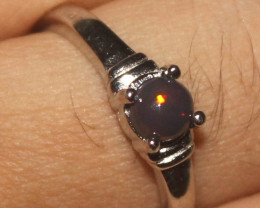Natural Ethiopian Welo Smoked Opal 925 Silver Ring 9