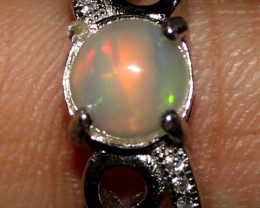 Natural Ethiopian Welo Opal 925 Silver Ring 12