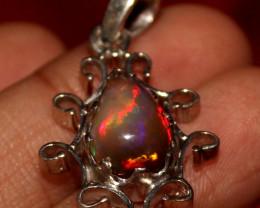 Natural Ethiopian Welo Smoked Opal 925 Silver Pendant 3