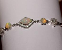 Natural Ethiopian Welo Opal 925 Silver Bracelet 21