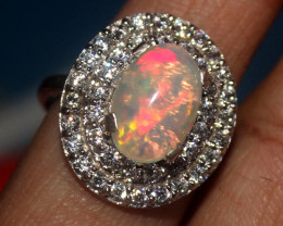 Natural Ethiopian Welo Opal 925 Silver Ring 186