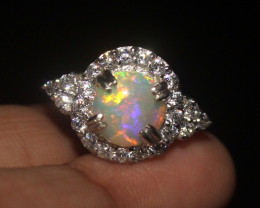 Natural Ethiopian Welo Opal 925 Silver Ring 163