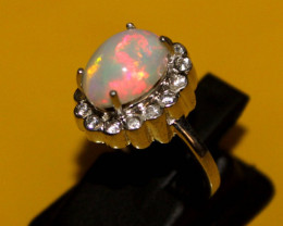 Natural Ethiopian Welo Opal 925 Silver Ring 107