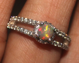 Natural Ethiopian Welo Opal 925 Silver Ring 199