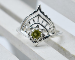 PERIDOT RING 925 STERLING SILVER NATURAL GEMSTONE JR938
