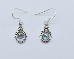 BLUE TOPAZ  EARRINGS 925 STERLING SILVER NATURAL GEMSTONE JE114