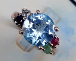 Natural swiss blue topaz,emerald,Ruby and sapphire Ring.