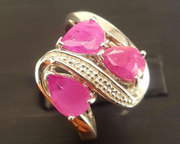 Natural Ruby Ring with CZ.