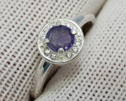 Natural Kashmir Sapphire 10.45 Carats 925 Silver Ring