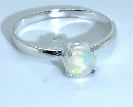 White Opal .95ct Platinum Finish Solid 925 Sterling Silver Ring