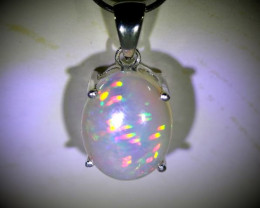 Precious Opal 6.20ct Platinum Finish Solid 925 Sterling Silver Pendant
