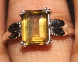 Natural Citrine 925 Silver Ring 107