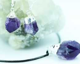 Raw Amethyst Points 3pc Pendant and earring BREAMP-1
