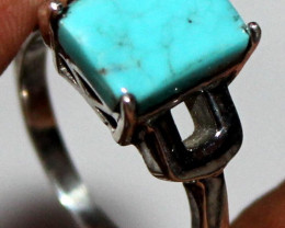 Natural Turquoise 925 Silver Ring 96