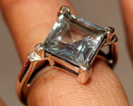 Natural Blue Topaz 925 Silver Ring 88