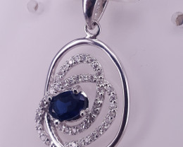 Natural Sapphire Pendet with CZ.