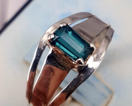 Natural Indicolite Tourmaline Ring.