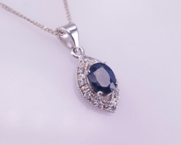Natural Sapphire and CZ Pendant