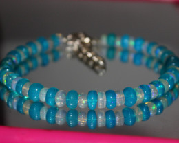 55 Crts Natural Ethiopian Welo Blue & White Opal Bracelet 236