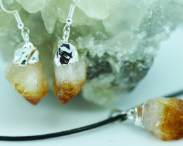 Raw Citrine Points Pendant and earring BRECIT-1