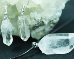 Raw Crystal Points 3pc Pendant and Earring BRACR-1