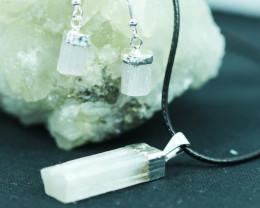 Raw Selenite 3pc Pendant and earring BRESEL-1