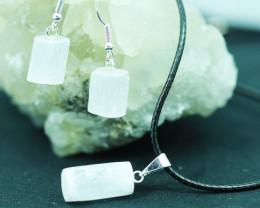 Raw Selenite 3pc Pendant and earring BRASEL-1