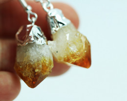 Twelve Raw Citrine Points Pair of Earrings BRECITE-12