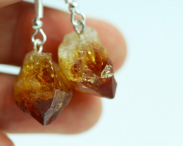 Raw Citrine Points Pair of Earrings BRACITE-1