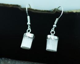 Raw Selenite Pair of earring BRESELE-1