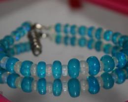 58 Crts Natural Ethiopian Welo Blue & White Opal Bracelet 248
