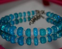 64 Crts Natural Ethiopian Welo Blue & White Opal Bracelet 249