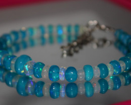 50 Crts Natural Ethiopian Welo Blue & White Opal Bracelet 256