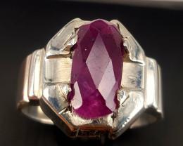 Natural roase cut Ruby Men Ring.