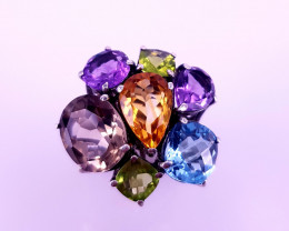 New Style Natural Multi Stones Ring