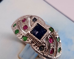 Natural Sapphire,Emerald and Ruby Ring.