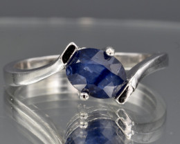 Natural Blue Sapphire and 925 Silver Ring