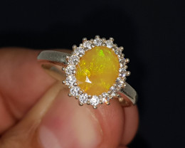 Natural Fire Opal 16.60 Carats 925 Silver Ring
