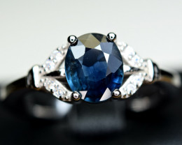 Heated top blue Natural 1.63 Carat Sapphire ,CZ 925 Silver Ring