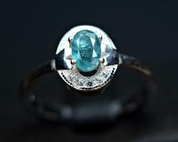 Natural top color lustrous grandidierite ,CZ 925 Silver Ring