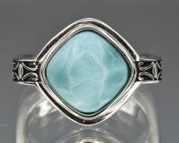 Natural Larimar and 925 Silver Ring