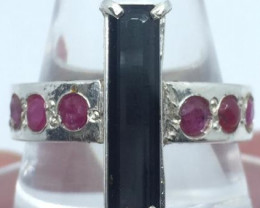 Natural Indocolite Tourmaline And Ruby Ring.
