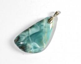 Charming Design Natural Deep Blue Larimar .925 Sterling Silver Pendant 1.9i